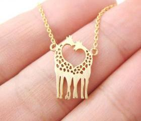 Love giraffe necklace, minimalist giraffe pendant, silver giraffe necklace, gold necklace