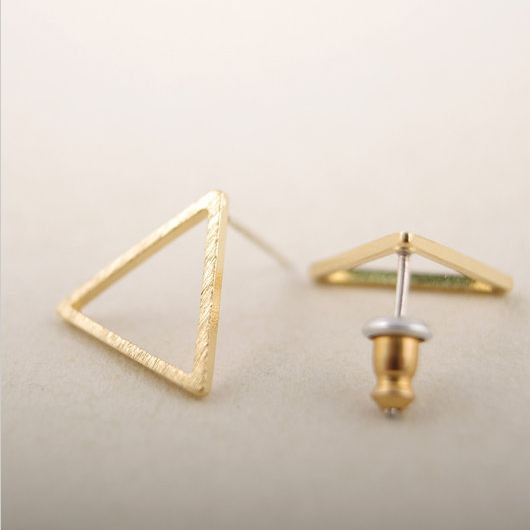 Tiny cutout triangle stud earrings, gold triangle earrings, stud earrings, cutout earrings, everyday earrings, simple earrings,chic earrings